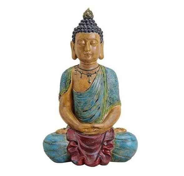 Edler Buddha 54cm in Blau Rot Braun Grau Figur Modell bunt Mönch Statue
