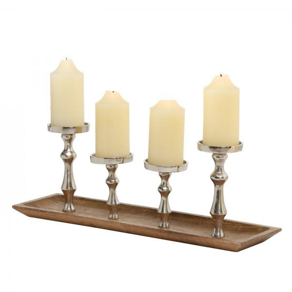 Kerzenleuchter Furo 55cm 4 Kerzen Metall Holz Advent silber Aluminium Kerzenständer