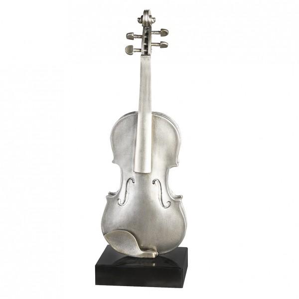 Edle Violine Skulptur auf Marmorsockel 65cm Silber Geige auf Stand Figur Modell