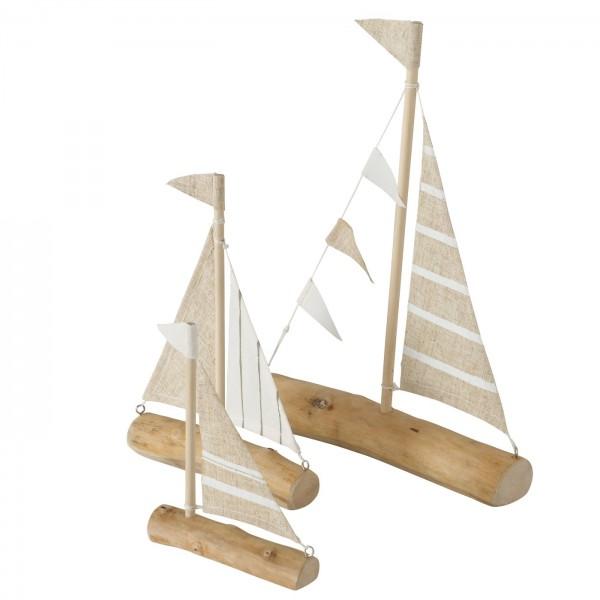 3er Set Segelboot Modell Robinson 29cm Boot Schiff Stoff Holz Eisen
