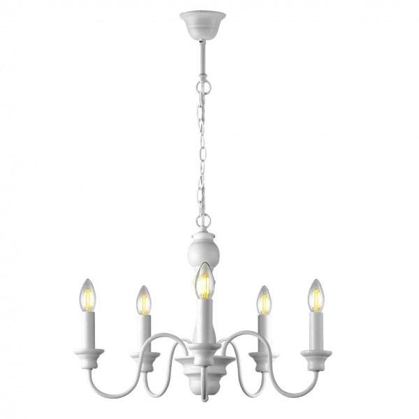 Kronleuchter Weiß Lilly Landshaus Antik 5 flammig Lampe Deckenlampe