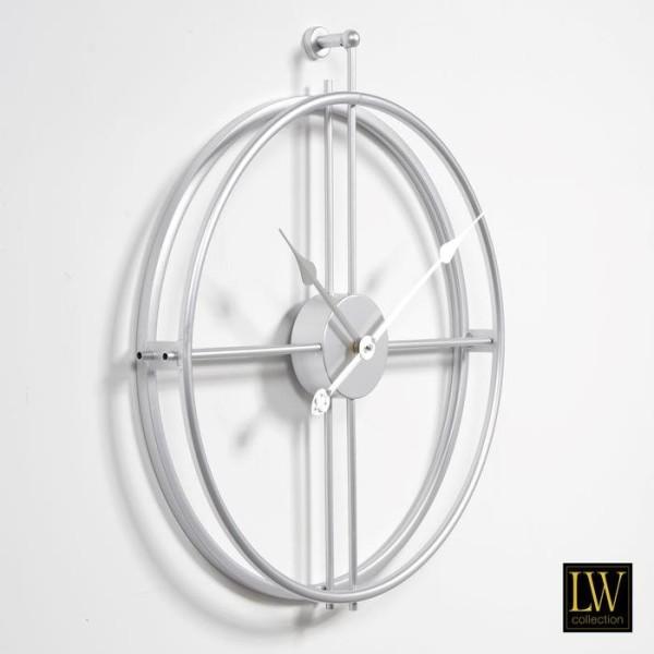 Große Wanduhr 52cm Alberto Silber Metall Uhr Wand