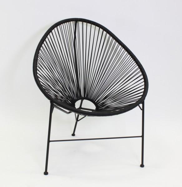 2er Set Stuhl Acapulco Papasansessel Gartensessel Schwarz Sessel Seile