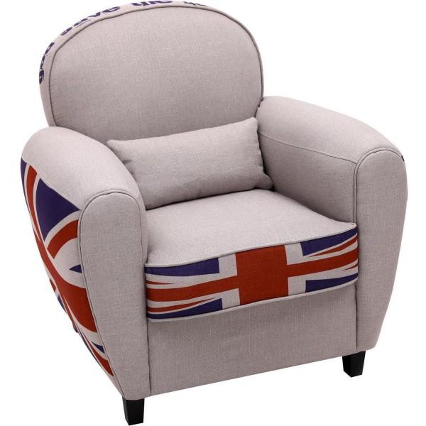 Sessel Grau Stoff England UK Loungesessel englische Flagge Ohrensessel