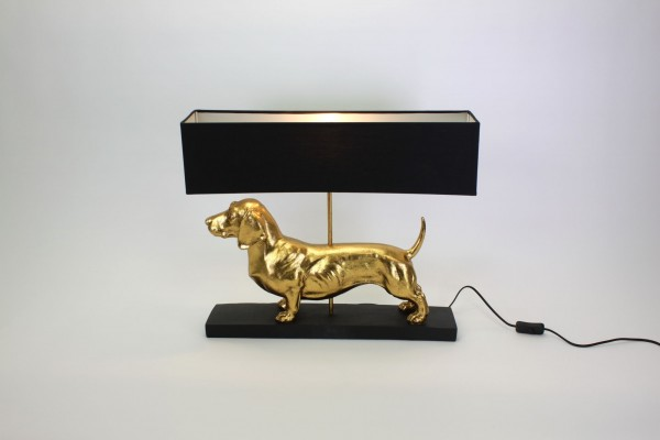 Geniale Tischlampe Dackel Gold 60cm Hund Tier Lampe Tischleuchte