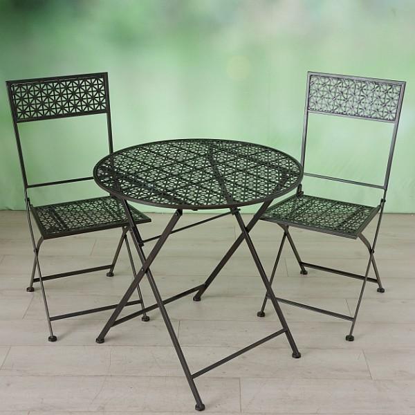 Tisch Set 2 Stühle Gartentisch Braun Gartenstuhl Garten Stuhl Eisen