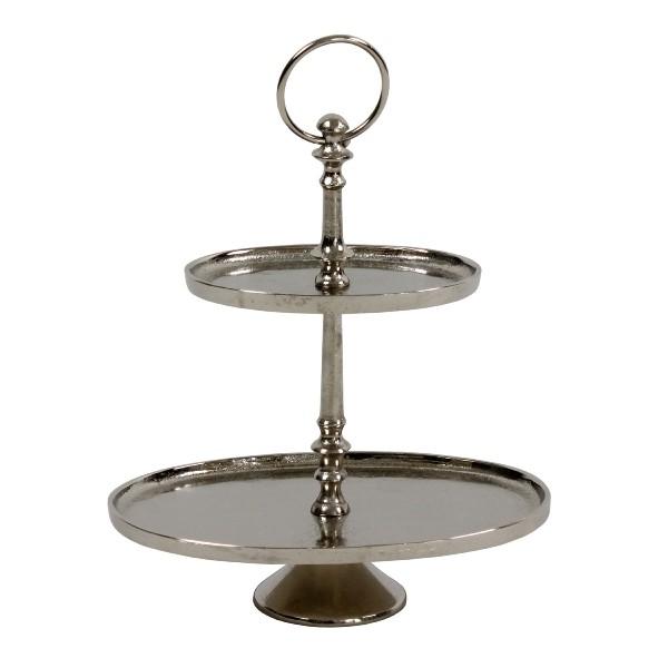 Ovale Etagere 31cm 2er Hammerschlag rau vernickelt Silber Gebäckschale Kuchenplatte