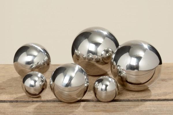 Gartenkugel Set 6-teilig 2,5cm - 5cm Edelstahl Silber poliert Dekokugel