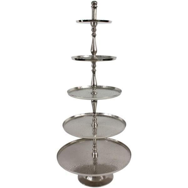 XL Etagere 158cm Höhe 5-stöckig Hammerschlag rau vernickelt Silber Gebäckschale