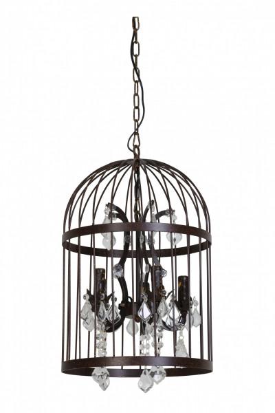Kronleuchter Pillenore Vogelkäfig Rost Braun 5 flammig Lampe Käfig Deckenlampe