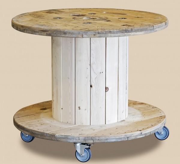 XL Beistelltisch Rondel 100x75cm Rollen Kabeltrommel Tisch Trommel Holz Braun