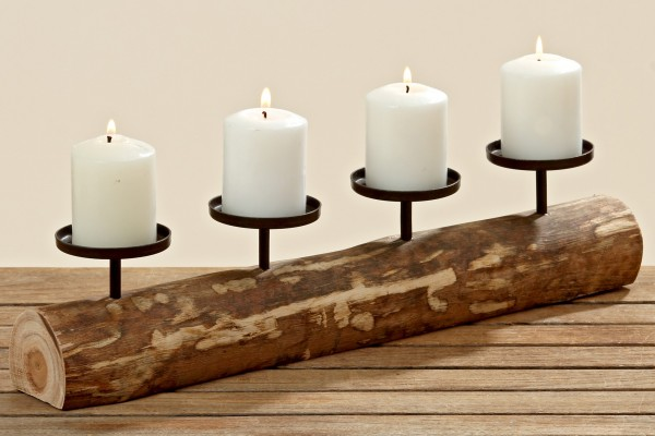 Kerzenleuchter Tempe Holz 51cm 4 Kerzen Advent Kerzenständer Hütte