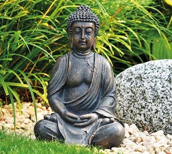 Buddha 30cm Braun Grau Antik Figur Modell Mönch Buddhafigur Statue