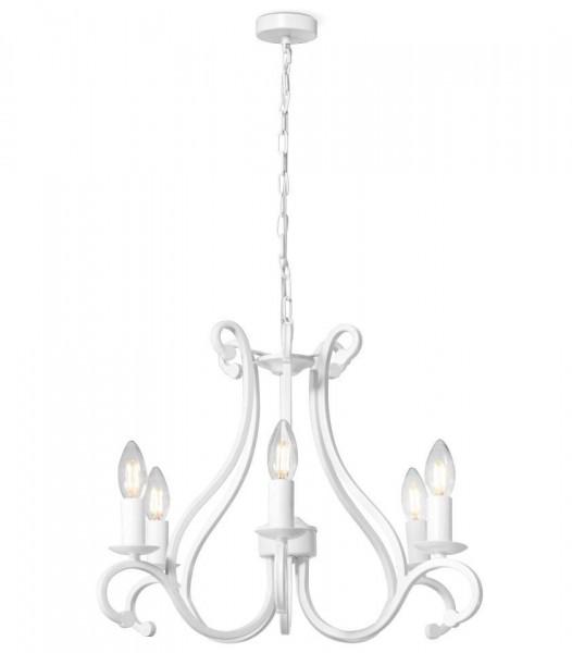 Kronleuchter Weiß Liva Landshaus Antik 5 flammig Lampe Deckenlampe