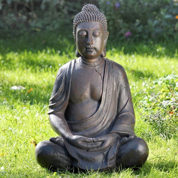 GIGANTISCHE BUDDHA SKULPTUR 102cm IN BRAUN FIGUR MODELL