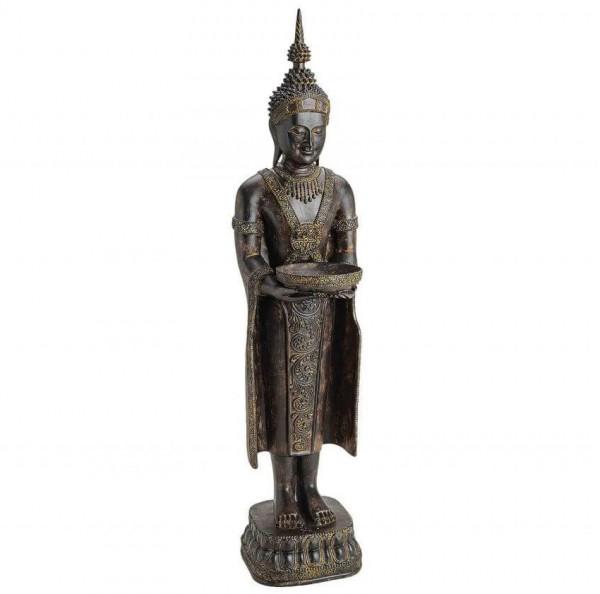 Edler Buddha 80cm stehend in Braun Grau Figur Modell Mönch Statue Buddhafigur