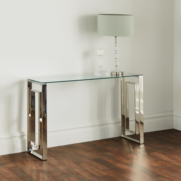 Konsolentisch Chrom Glas 120cm Richard poliert Silber Tisch Edelstahl