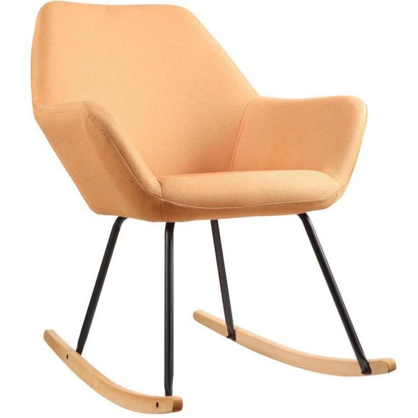 Sessel Schaukelstuhl Orange Stoff Schaukelsessel Stoffsessel Stuhl