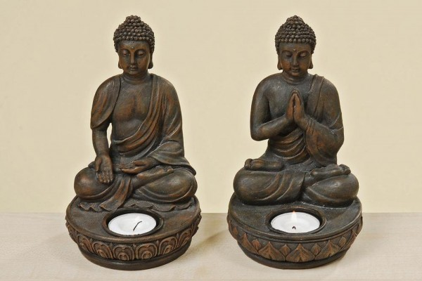 Buddha Teelichthalter 2er Set je 19 cm Figur Modell Kerze