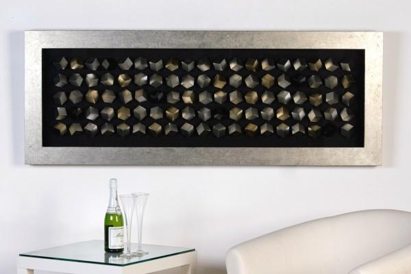 Wandbild Cubes 160 x 60cm von Casablanca Silber Glas Würfel plastisch 3D