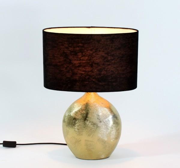 Edle Tischlampe Lobby Gold Schwarz 53cm Lampe Tischleuchte Dekolampe Schirm