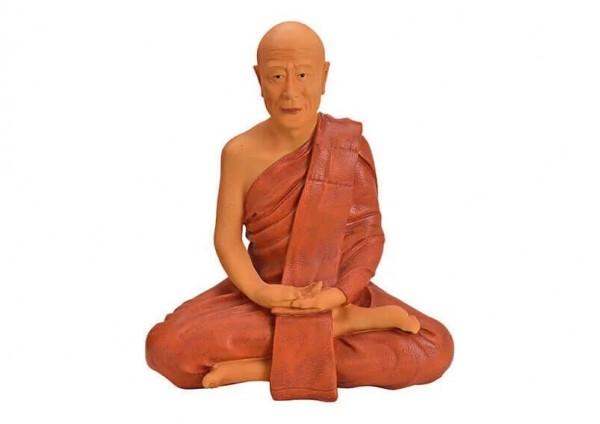 Buddha 70cm Rot Braun Figur Modell Statue Mönch Buddhafigur