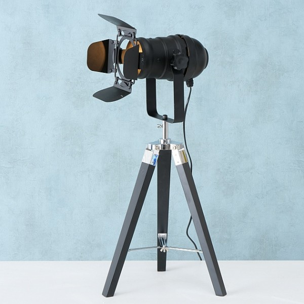 Stativleuchte Stehlampe Stativlampe Stehleuchte H70cm schwarz Studio Set Holz Stativ Lampe Teleskop