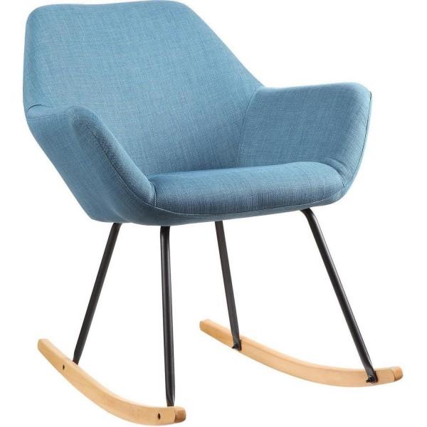 Sessel Schaukelstuhl Blau Stoff Schaukelsessel Stoffsessel Stuhl