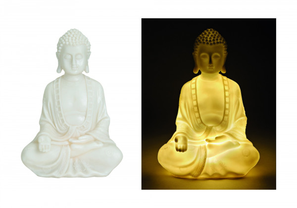 Genialer Buddha 33cm mit Beleuchtung Buddhakopf LED Lampe Licht Modell