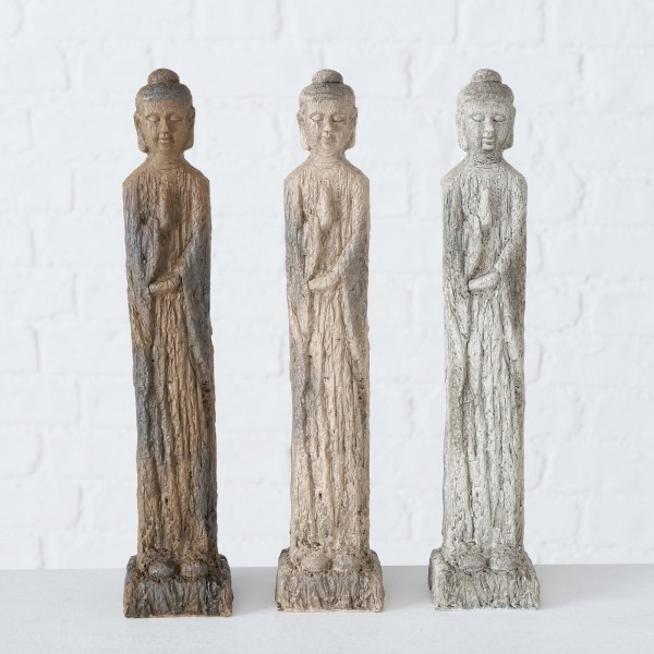 3er Set Buddha Layana 30cm Mönch Modell Figur Braun Beige Grau Asien