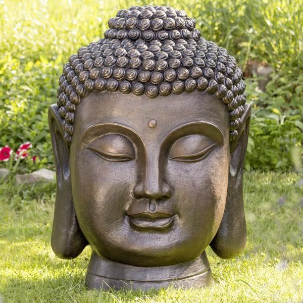 Gigantischer XXL Buddhakopf 93cm Braun 24 KG Steinoptik Buddha Kopf Modell