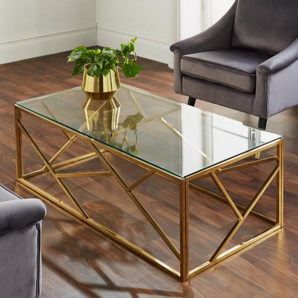 Couchtisch Gold Glas 120cm Emilia Metall Tisch Beistelltisch