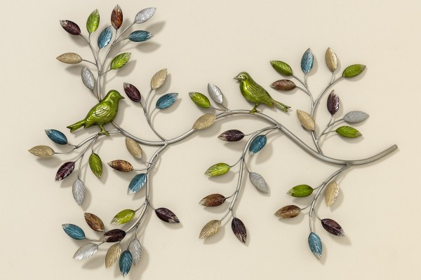 Tolle Wand Dekoration Baum Toledo 75cm mit Vogel Bunt Eisen Wanddeko Baumdekoration