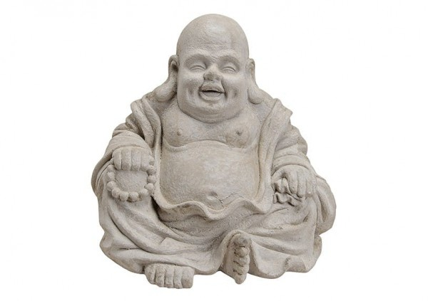 Happy Buddha 35cm Grau Marmor Optik Figur Modell Mönch Buddhafigur Statue