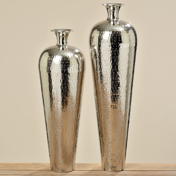 Große Vase Carrol 63cm Höhe Aluminium poliert Silber Bodenvase Alu Dekovase