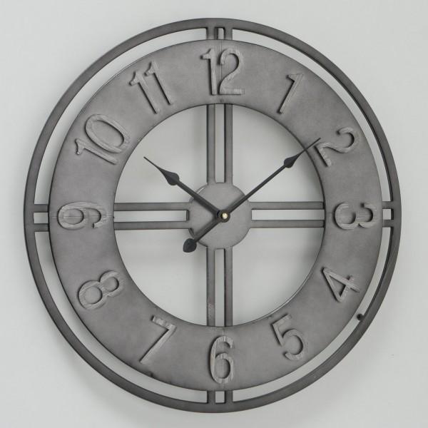 Große Wanduhr Pioneer Zink D50cm Metall Silber Grau Vintage Uhr Neu