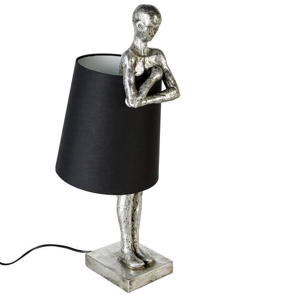 Stehlampe Man Casablanca 58cm Gilde Mann Schwarz Silber Lampe Tischlampe