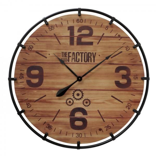 Auffällige XL Wanduhr Perrin 79cm Natur Holz Braun Uhr Factory