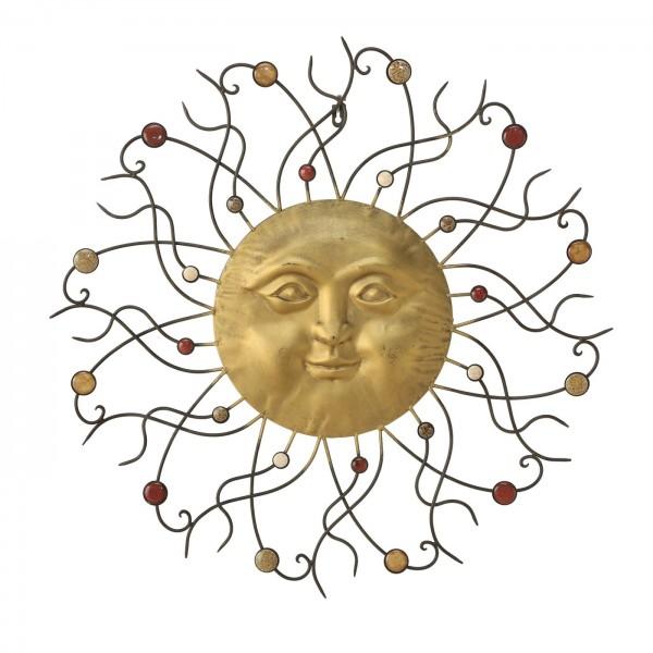 Edle Wand Dekoration Sonne 74cm Gold Eisen Wanddeko Ibiza Urlaub Bild Deko