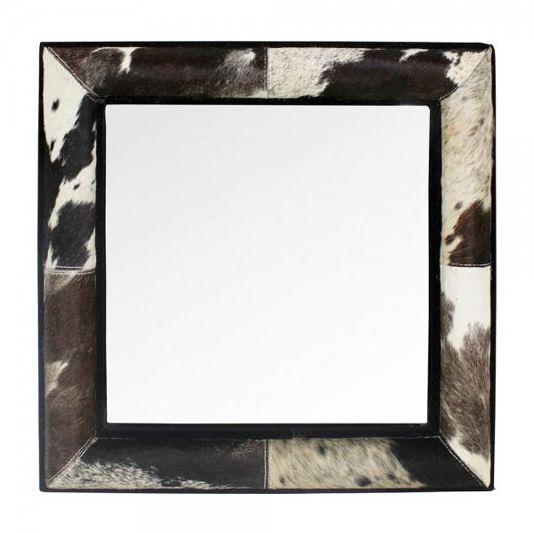 Wandspiegel Spiegel Kuhfell quadratisch 50cm Schwarz Rahmen Kuh Kuhfellrahmen
