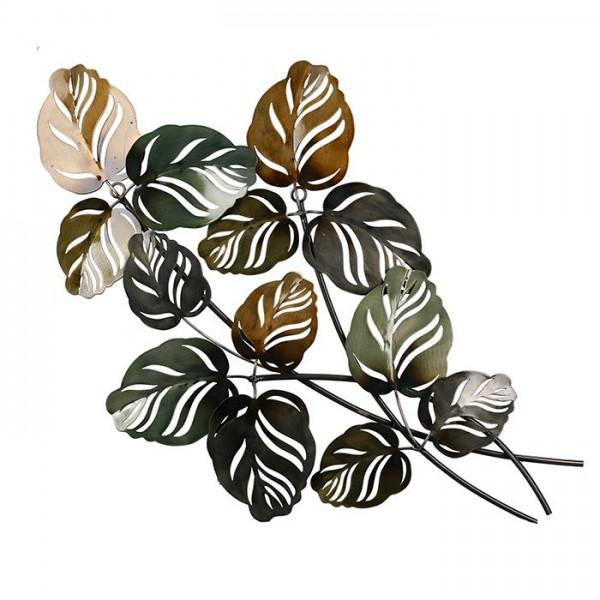 Wandbild Blätter Casablanca Metall 67cm Blatt Bild Eisen Pflanze Grün Braun
