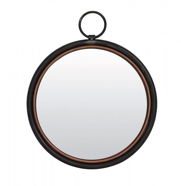 Edler Wandspiegel rund 41 cm Elly Light Living Schwarz Kupfer Ring Spiegel