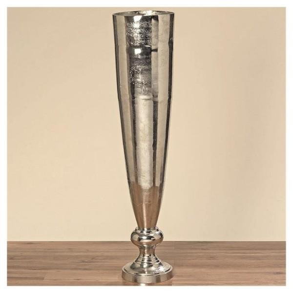 XXXL Vase Romano 139cm Aluminium Raw Nickel Silber Bodenvase Alu Dekovase