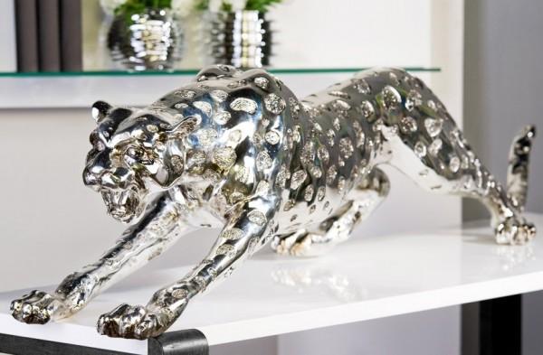XXL Gepard 145cm Silber aus Poly Leopard Tiger Panther Chrom Dekoration