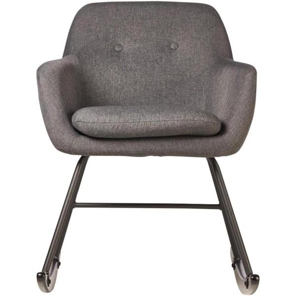 Sessel Schaukelstuhl Grau Stoff Schaukelsessel Stoffsessel Stuhl