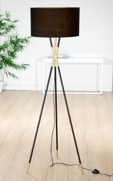 Stehlampe Trois 155cm Casablanca Gilde Gold Schwarz Lampe Stehleuchte Dreibein